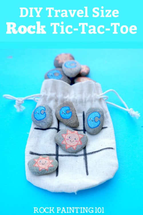 Maketic tac toe rocks that are the perfect boredom buster for kids. They also make amazing gifts! Check out the video tutorial and a collection of ideas for your set. #tictactoe #rocks #travelgame #rockpaintingideas #rockgames #rockgifts #rockpainting101