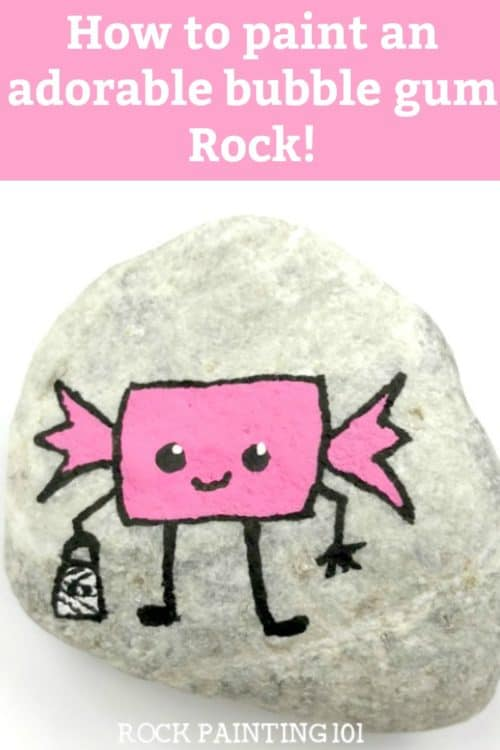 Learn how to draw bubble gum while painting an adorable Halloween rock! This simple rock painting idea is perfect for hiding for the trick or treaters in your neighborhood! #bubblegum #howtodrawgum #gum #rockpaintingidea #halloweenrockpainting #rockpaintingforbeginners #rockpainting101
