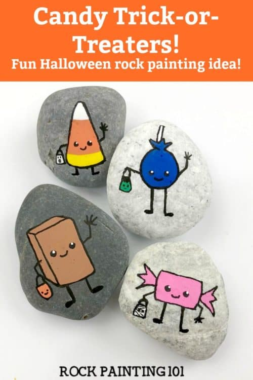 Halloween rock painting ideas. Create fun Halloween painted rocks from fun mummies to friendly monsters. There is a fun stone painting idea for any skill level. Check out the candy painted rocks. They're adorable! #halloween #rockpaintingideas #monsters #mummy #candy #stonepainting #rockpainting101