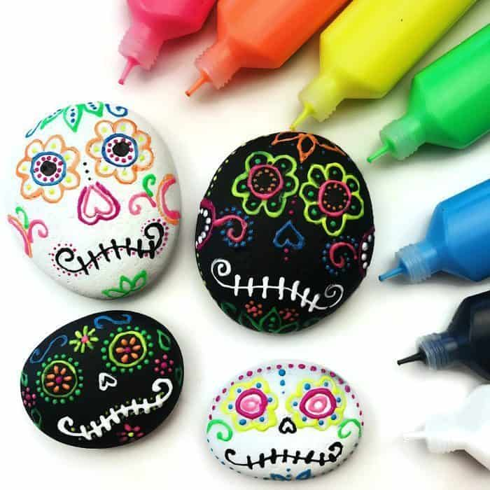 We love the fun craft supplies used to paint these skulls!