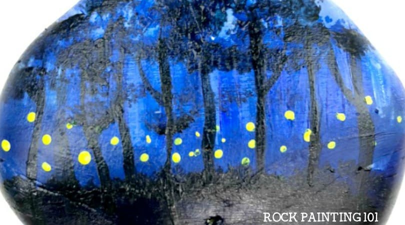 How to make beautiful fireflies on your night painted rock.