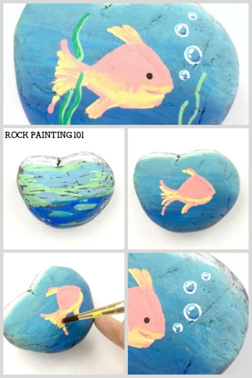 Learn how to paint adorable fish with amazing bubbles in this fun rock painting tutorial. With step by step instructions, you'll be creating amazing fish rocks in no time! #fish #bubbles #howtopaint #rockpainting #stonepainting #rockpaintingforbeginners #rockpainting101