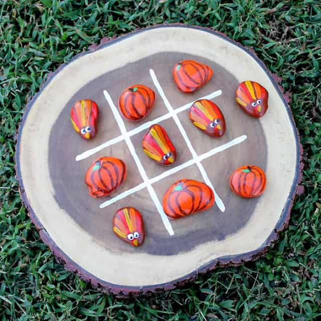 Kids will love to play a fun game of turkey tic tac toe with these painted rocks!