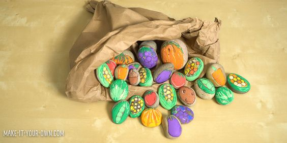 Create a painted rock cornucopia! It will make a fun centerpiece.