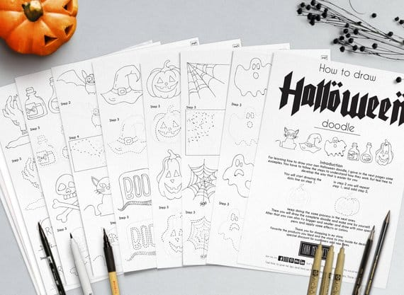 Don't think you can paint those fun Halloween characters? Give these doodle practice sheets a try!