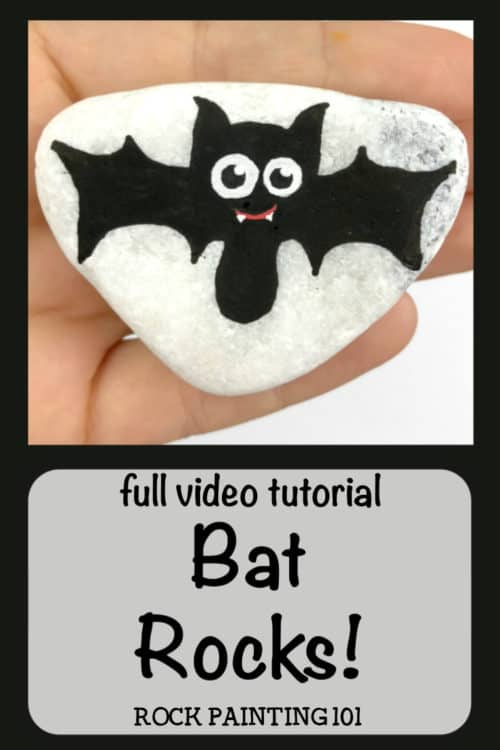 Learn how to paint a bat to make these spooky and fun Halloween painted rocks. Follow along with these step by step instructions and you'll be hiding bat painted rocks in no time! #batrocks #paintedrock #howtopaintabat #halloweenpaintedrocks #rockpaintingideas #stonepainting #rockpainting101