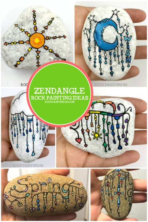 Zendangle rock painting ideas are perfect for beginners. This style of rock is perfect for those that aren't great at painting more complex designs. Plus they are loads of fun to create #zendangle #rocks #dangles #rockpainting #stonepainting #kindnessrocks #howtozendangle #rockpainting101