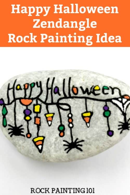 Create a fun Halloween zendangle painted rock with these simple tips and quick tutorial. This rock painting idea is perfect for hiding this Halloween. #halloween #zendangle #rockpaintingideas #fall #halloweenstones #howtozendangle #rockpainting101