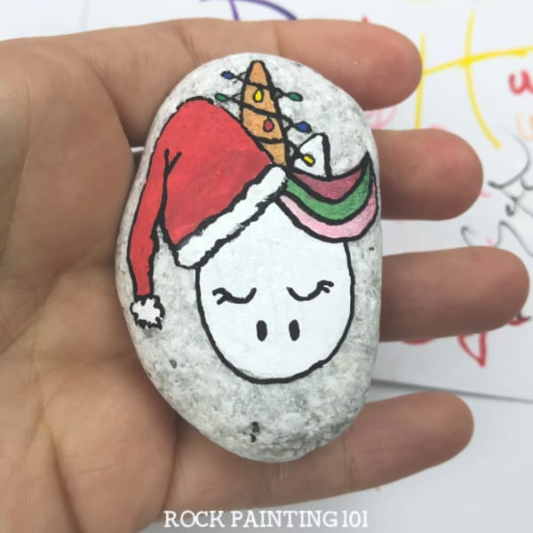 How to make a cute Christmas unicorn painted rock
