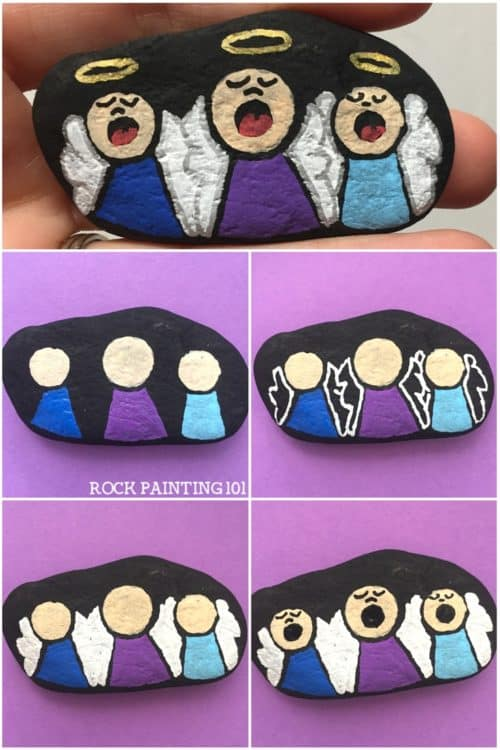 Thisangel rock painting idea is a super fun way to paint rocks this Christmas. Hide them in your neighborhood, or put them in a stocking. They are sure to brighten someone's day! #angel #christmasangel #howtopaintanangel #angelrocks #rockpaintingideas#christianrocks #rockpainting101