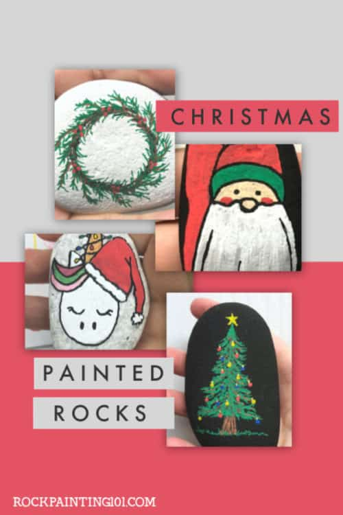 These Christmas Painted Rocks are perfect for celebrating and gifting this holiday season. From fun Christmas trees to holiday unicorns, there is a tutorial for every skill level! #Christmaspaintedrocks #christmasrockpainting #holidayrockpainting #stonepainting #stockingstuffers #christmascraft #holidayart #rockpaintingtutorials #rockpainting101