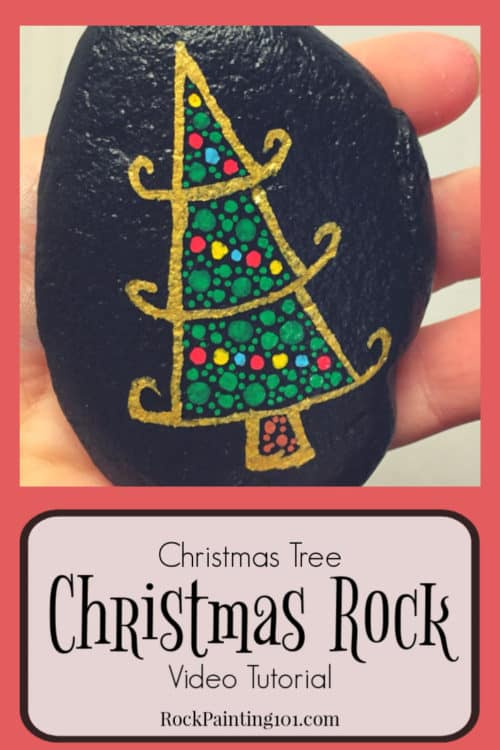 Create this fun dotted Christmas tree rock with this fun video tutorial. This Christmas rock is perfect for beginners and is sure to bring smiles this holiday season! #dotted #christmastree #christmasrocks #paintedrocks #dottedrocks #dotpainting #forbeginners #rockpainting101