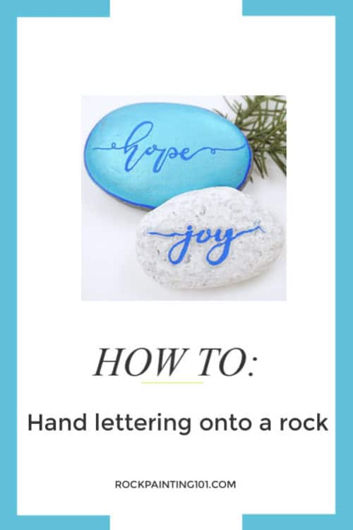 Tips, tutorials, and supplies for mastering hand lettering on painted rocks. Painting fun phrases and inspirational words is a fun way to paint rocks, but it's also one of the most challenging.  #handlettering #rockpainting #howtopaintrocks #kindnessrocks #holidayrocks #paintingwords #rockpainting101