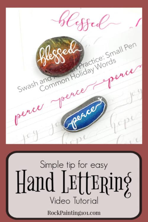 Hand lettering a single word is the best way to learn how to hand letter onto painted rocks. Check out these tips and video tutorial to create kindness rocks or holiday rocks! #handlettering #tips #rockpainting #howtopaintrocks #kindnessrocks #holidayrocks #blessed #peace #paintedrocks #rockpainting101