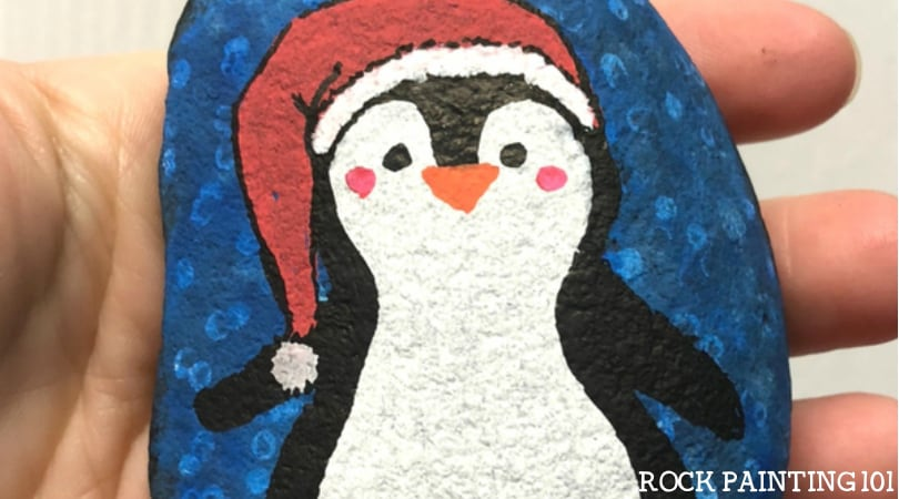 How to draw a penguin to make a fun winter rock