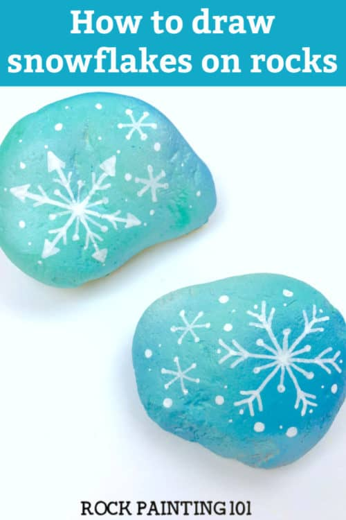 Learn how to draw a snowflake and make beautiful winter painted rocks in one video tutorial! Perfect for winter rock hiding or for decorating your home. #snowflake #rockpainting #howtodrawasnowflake #winter #stonepainting #rockhunting #decor #gifts #rockpainting101