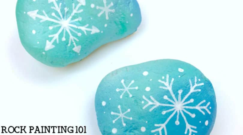 How to draw a snowflake to make a fun winter painted rock