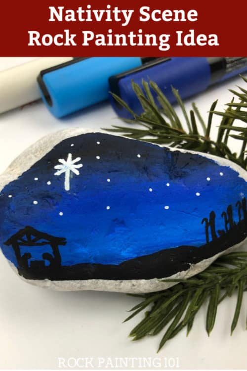 Create a beautiful nativity scene on your painted rocks with this step by step tutorial. This Christmas rock painting idea is perfect for stocking stuffers, Christmas decor, or hiding this season. #nativity #christmas #rockpainting #paintedrocks #stockingstuffer #rockpainting101