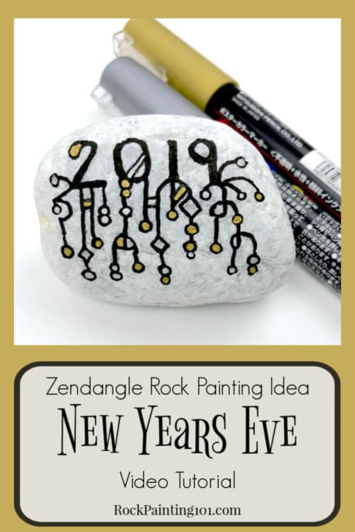Get ready for New Years with this Zendangle rock painting idea. These are perfect for hiding this season or decorating the table at your New Years Eve party. #newyears #2019 #countdown #zendangle #dangles #rockpainting101