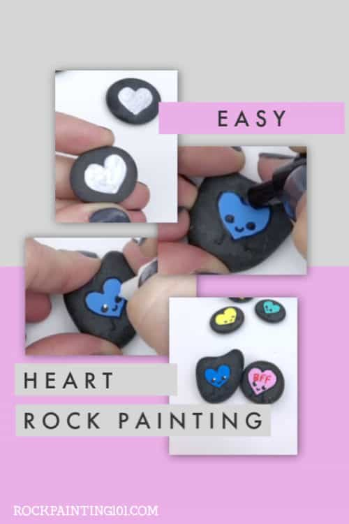 Paint these simple smiling hearts onto rocks and you have an adorable Valentine's Day rock painting idea! #rockpainting101