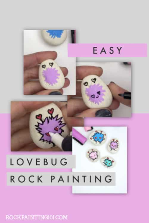 Learn how to draw a love bug with this simple and fun video tutorial. Lovebug crafts are perfect for celebrating Valentine's Day with your loved ones. #rockpainting101