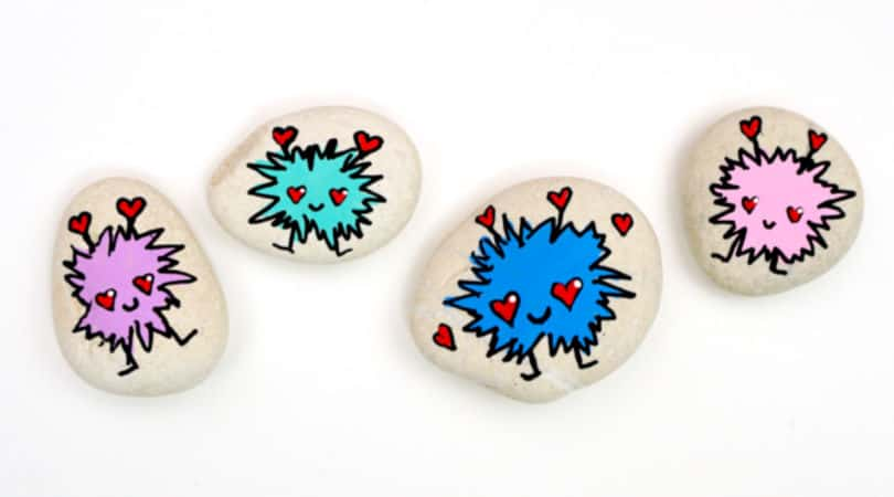 How to draw a love bug to make adorable painted rocks