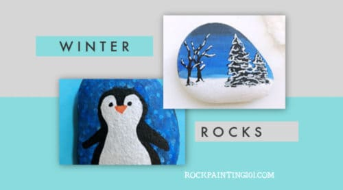 These Winter rock painting ideas you can create while the weather is cold and you're bundled up inside. Use them to decorate, give as gifts, or hide in your city. #rockpainting101