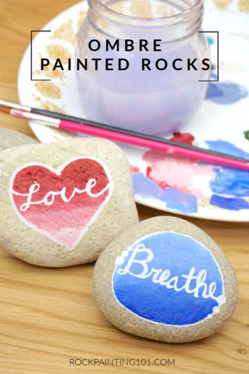 Using this ombre background technique, you can create beautifully painted rocks for any season! We painted the ombre into a shape to give it even more of a wow factor. #rockpainting101