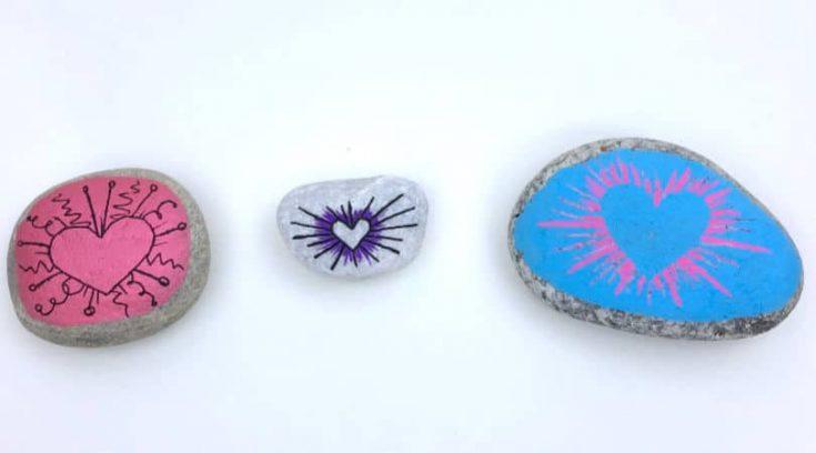 Radial heart painted rocks