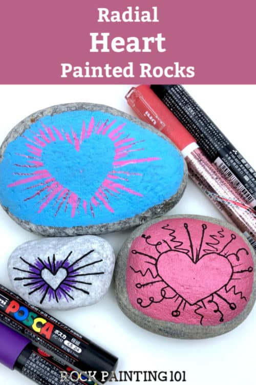 Theseradial heart painted rocks are perfect for giving to loved ones or hiding around your city! They make amazing kindness rocks! #rockpainting101