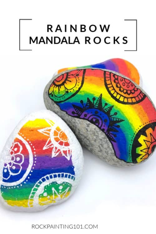 This rainbow rock painting idea is great for beginners to mandala style rocks.