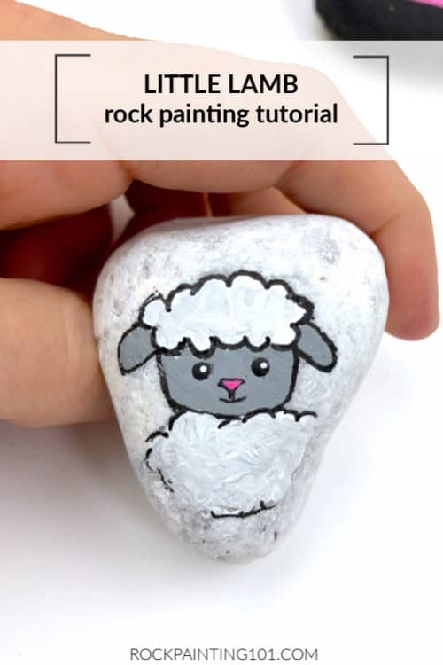 Lamb painted rocks are great Easter Rock painting ideas. You can paint this lamb as a story stone as well.