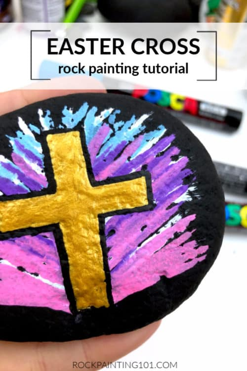 is golden cross is a fantastic Easter rock painting tutorial!