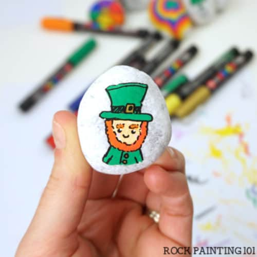 Rock painting tutorial for a Leprechaun stone.