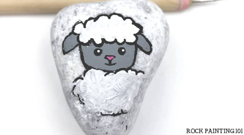 Little Lamb Painted Rock