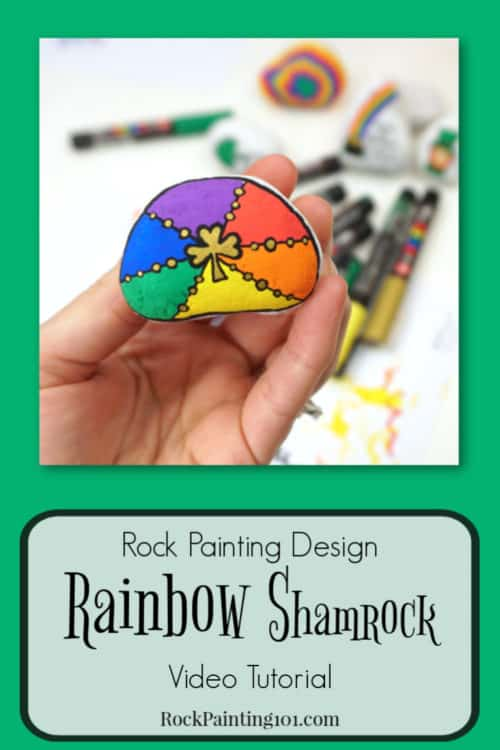 Create this beautiful rainbow shamrock rock. A rock painting tutorial for beginners. St. Patrick's Day rocks.