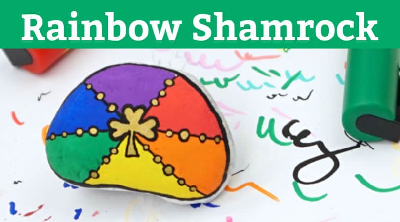 Rainbow Shamrock painted rocks