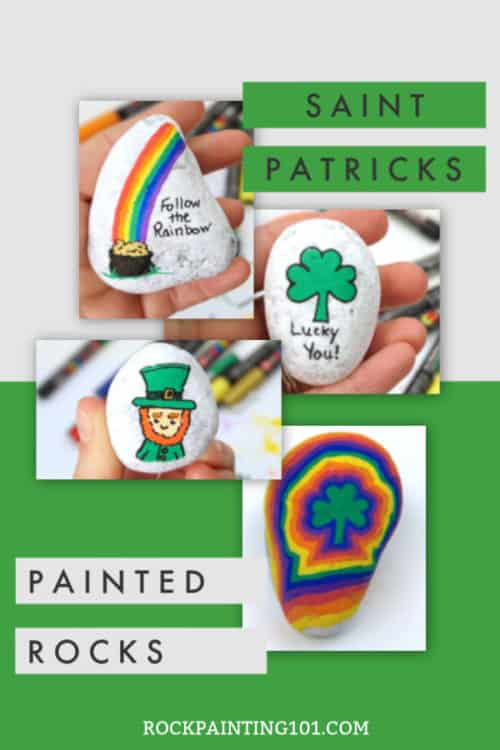 Create fun St Patricks Day painted rocks that are perfect for hiding, giving, or decorating this March. #rockpainting101
