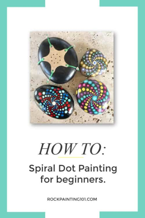 How to create dotted spiral patterns. Rock painting tutorial for beginners.