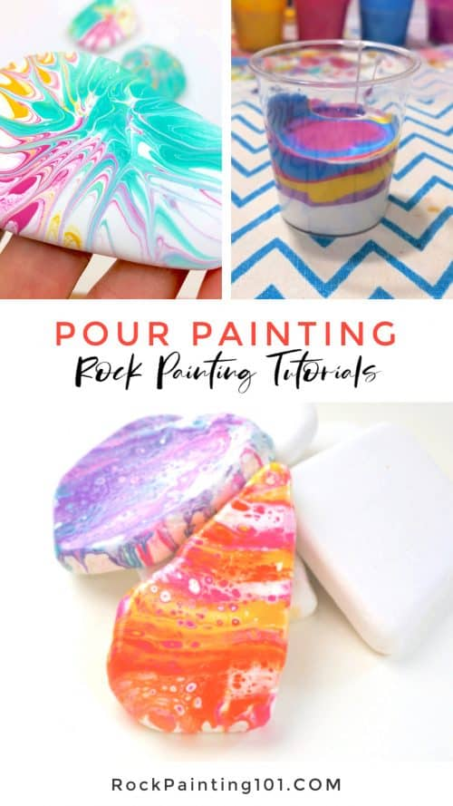 Master paint pouring on rocks with these simple pour painting tutorials. #rockpainting101