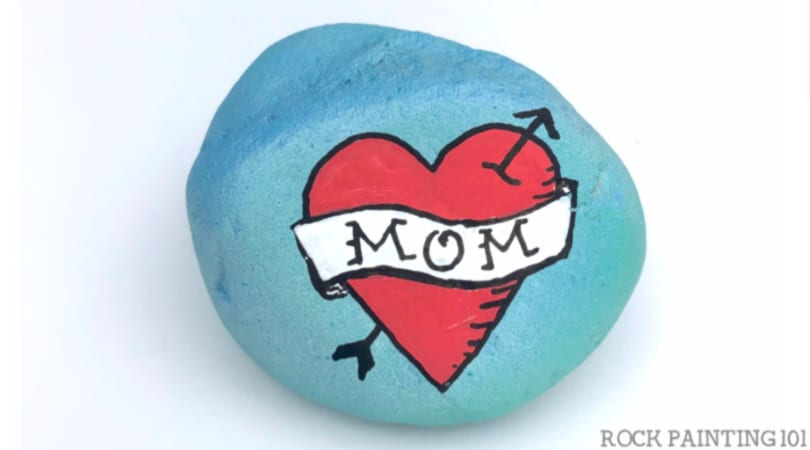 Mom Tattoo Design Rock Painting Idea