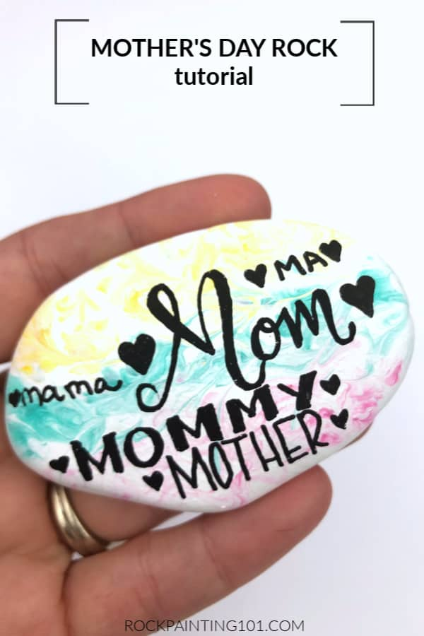 This fun Mother's Day rock painting idea is perfect for beginners!