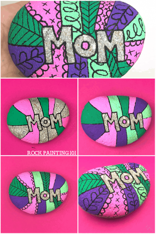 Use Scandinavian pattern designs for rock painting. This rock is perfect for Mother's Day.