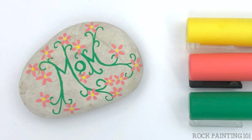 How to make a simple floral vine rock painting design