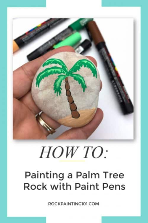 Painting a palm tree video tutorial. Rock painting design for beginners.