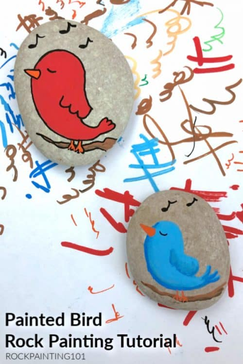 Create an adorable singing bird rock to hide around town! Follow along with this rock painting tutorial.
