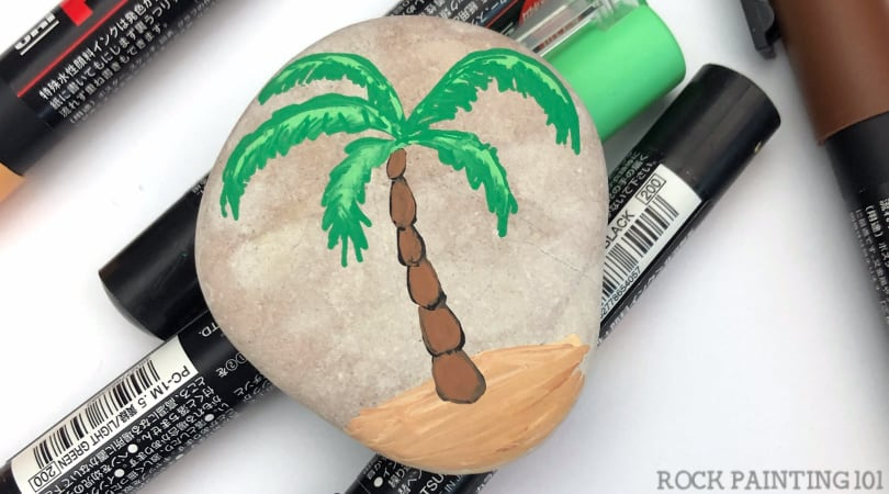 How to paint a palm tree onto a rock