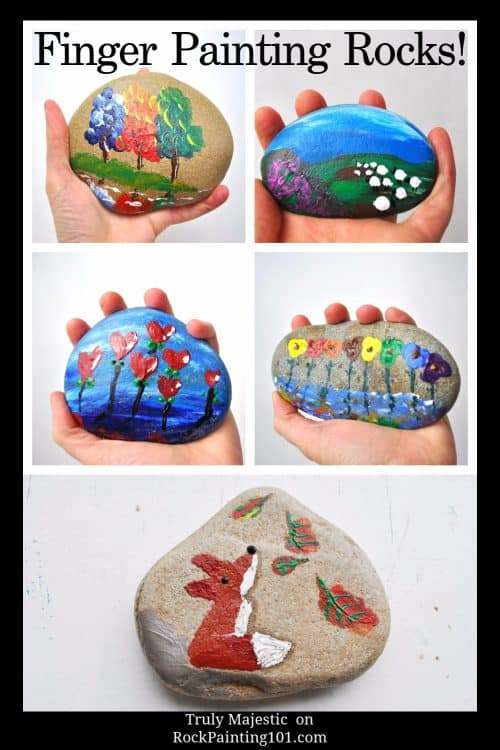 Learn how to finger paint on rocks. Create a fun fox rock or and many more design ideas.