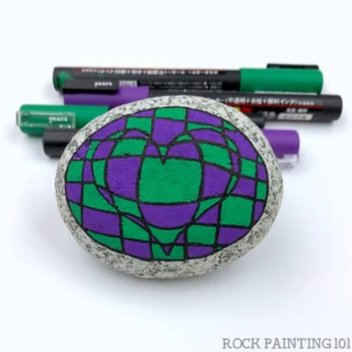 green and Purple Heart rock