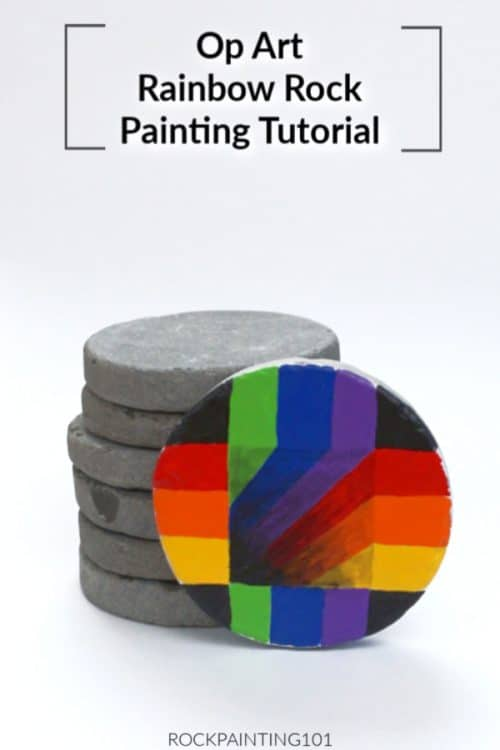 Learn how to make optical illusions on a rock with this op art step by step tutorial